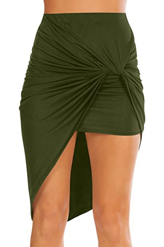 Womens Drape Up Stretchy Asymmetrical High Low Short Mini Bodycon Pencil Skirt, Olive, Medium