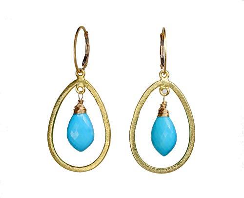 Turquoise Gemstome Teardrop Gold Earring- Real turquoise Hoop Earring- Chandelier