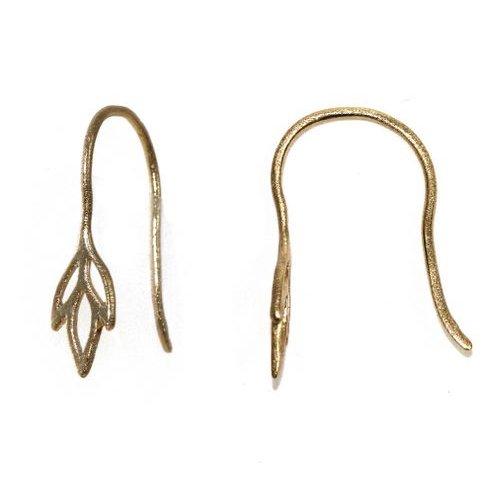 Amoracast Exclusive Gold Vermeille Iris Earring Hooks (1 Pair) (Vermeil Iris)
