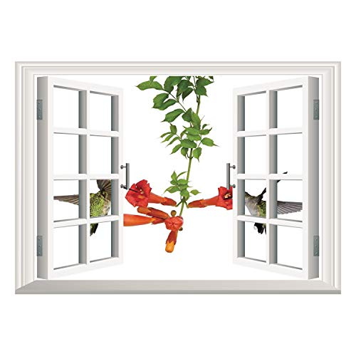 Vineyards Nectar (SCOCICI Wall Mural, Window Frame Mural/Hummingbirds Decor,Two Hummingbirds Sip Nectar from a Trumpet Vine Blossoms Summertime,/Wall Sticker Mural)
