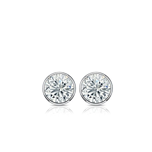 14k White Gold Bezel-set Round Diamond Stud Earrings (1/4 ct, G-H, SI2-I1) by Diamond Wish (Image #3)'