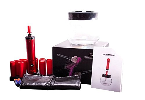 Makeup Brush Cleaner Valentine's Day Gift Bundle Kit ~Spin Dry Clean Brushes in Seconds ~ Cleaning Tool ~ (2) AAA Batteries Included ~BONUS~ (8) Pc Face Cosmetic Brush Tool Set By Get It Girl DS