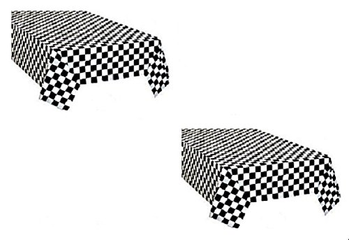 Adorox Pack of 2 Checkered Plastic Table Cover Disposable Reusable Picnic Race Car Birthday Party Theme -