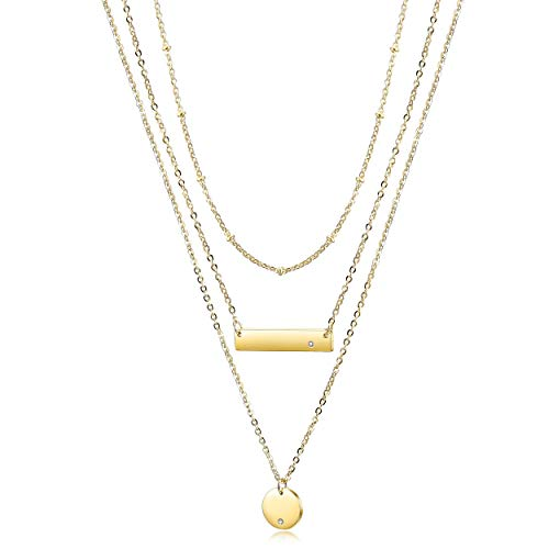 Wistic Bar Necklace Stainless Steel Gold Plated Adjustable with Engravable Bar Pendant(16Inch+2) (Gold Layer Necklace)