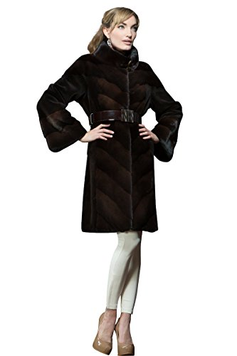 Anamoda Women's Espresso Dyed Sheared Mink and Cross Mid-Length Fur Coat Medium Brown (Sheared Dyed Beaver)