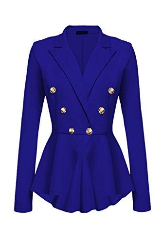 Blazer Crop Yacun Mujeres Peplo Casual Blu Giacca Fit Slim Coat Top Trabajo 066BwqE7