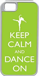 Rikki KnightTM Keep Calm and Dance On - Lime Green Color White Tough-It Case Cover for iPhone 4 & 4s (Double Layer case with Silicone Protection) by lolosakes by lolosakes