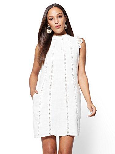 New York & Co. Ivory Lace-Trim Linen-Blend Shift Medium Paper White - Lace Trimmed Linen