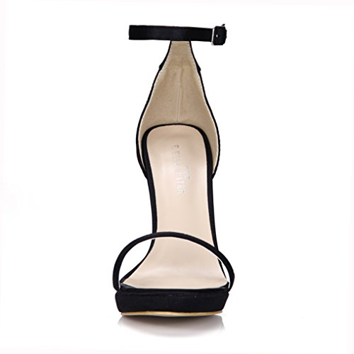 DolphinBanana Womens Simple Heeled Sandal Pumps Prime Matte Black DWjr9cL0G