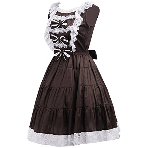 Damen Braun Abendkleid Gothic Prinzessin Frauen Kleid Cosplay Party Dress Lolita Classic Kostueme Partiss OSqAwS