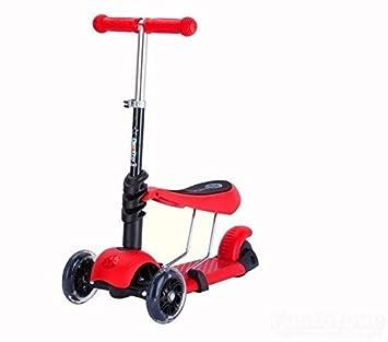 Monopatín para niños con ruedas de luces intermitentes, multifuncional 3 en 1, con asiento desmontable, para niños de 2 a 8 años, rojo: Amazon.es: Deportes ...