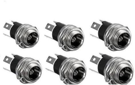10PCS DC Power Supply Jack Socket Female Panel Mount Connector 3-Pin 5.5 x 2.1mm