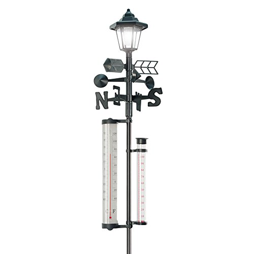 60  u0026 39  u0026 39  tall  all-in-one solar weather station with solar powered light