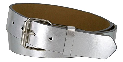 B570 Mens Genuine Leather Belt With Silver Roller Buckle VARIOUS COLORS 1 1/2