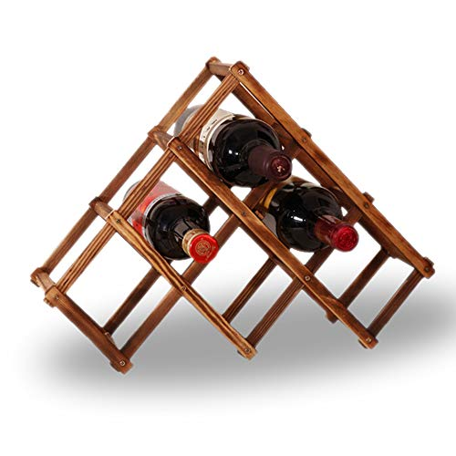 ChangSheng Natural Wooden Wine Rack, 6 Bottles Stackable Verticl Wine Storage Holders Stand, Tabletop Wine Display Racks (Carbonized)