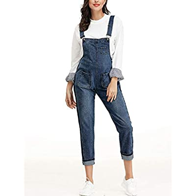 Gihuo Women's Casual Baggy Denim Jean Bib Overalls: Clothing