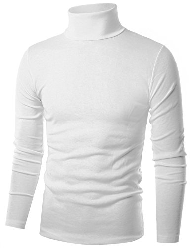 Ohoo Mens Slim Fit Flice Long Sleeve Pullover Flice Turtleneck /DCT005-WHITE-M