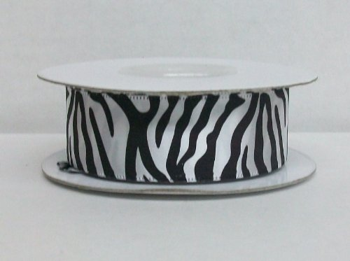 White Zebra Print Satin Ribbon 7/8 Inch Wide (25 Yards)]()
