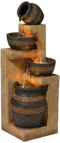 Stoneware Bowl and Jar Indoor-Outdoor 46″ H. LED Fountain