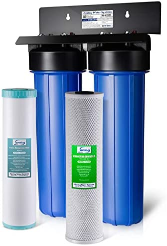 iSpring WGB22BM 2-Stage Whole House Water Filtration System with Big Blue Carbon Block and Iron Manganese Reducing Filters