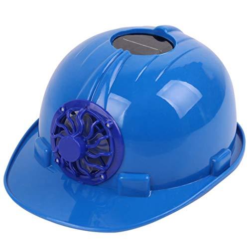 Cooling Fan Safety Helmet Work Hard Hat Solar Safety Cap (Blue) ()