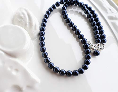 Dark Blue Navy Swarovski Pearl Single Strand ()