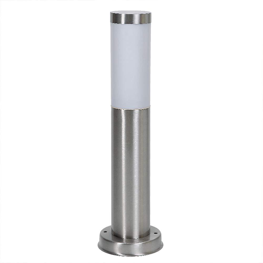 LHG Moderne Wegeleuchte aus Edelstahl | Wegelampe für Energiesparlampen | Außenleuchte mit Lampenglas aus Polycarbonat | Höhe 45cm