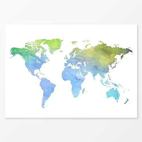 Green and Blue Watercolor World Map, Size 5x7, 8x10, 11x14 and more, Great Wedding Guest (Best Halloween Places To Visit)
