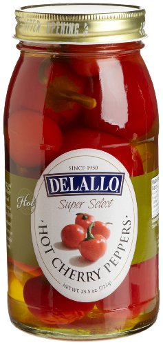 DeLallo Red Hot Cherry Peppers, 25.5-Ounce Jars (Pack of 6)
