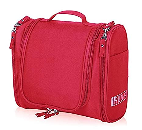 35dfe1438003 PETRICE Multifunctional Toiletry Large Makeup Waterproof Shower Wash Bag  Cosmetic Case Travel Kit Pack with Hook (Red)