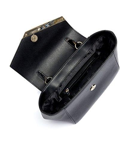 Borsa a mano DKNY in pelle martellata con patta frontale a V