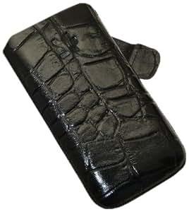 Suncase - Funda de cuero especial para iPhone 4 con cierre, color negro con relieve