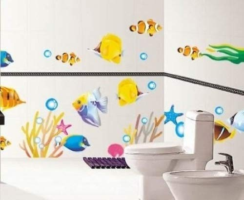 DecoBay Fish Bathroom Stickers/Childrens Room Wall Stickers - Adhesive Removable Wall Stickers Bathroom Wall Stickers DB2505