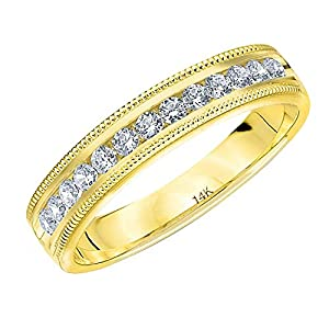 1.0 CTTW Splendor Diamond Wedding Ring, 1ct Milgrain Anniversary Band in 14K Gold