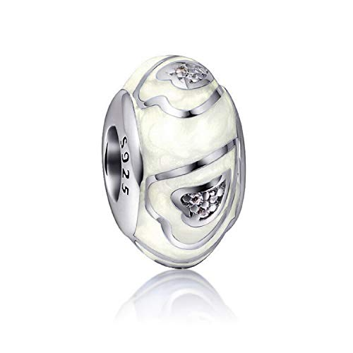 - EVESCITY Adorable Many Style Sterling Silver Beads for Charm Bracelets ♥ Best Jewelry Gifts ♥ (White Hearts Enamel Murano)