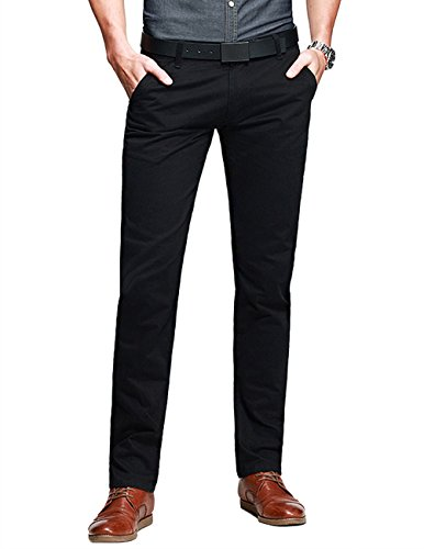 Match Mens Slim-Tapered Flat-Front Casual Pants(Black,30)