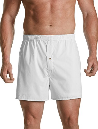 Harbor Bay Big & Tall 3-Pack Solid Woven Boxers (3XL, White) (Solid Woven Boxer)