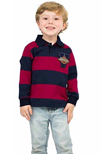 Pulla Bulla Toddler Boy Long Sleeve Striped Polo Shirt Size 3T Cherry