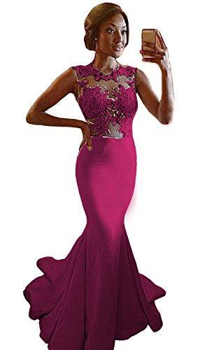 Danadress Women's Lace Mermaid Bridesmaid Dress See Through Prom Evening Dresses Fuchsia Custom Made ()
