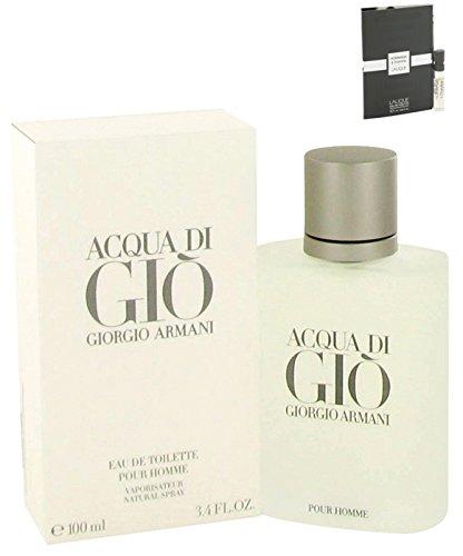 Acqua Di Gio Cologne Giorgio Armani (Giorgió Armáni Acquá Dí Gió Cologné 3.3 oz Men Eau De Toilette Spray Free! LH Cologne 0.06 oz)