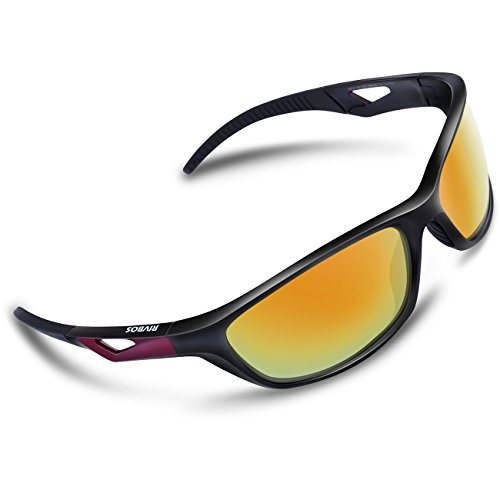 RIVBOS Polarized Sports Sunglasses Driving Sun Glasses for Men Women Tr 90 Unbreakable Frame for Cycling Baseball Running Rb831 (Black&Red Mirror - Sunglasses Uv Cheap Protection