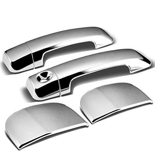 For Tundra Double Cab 4pcs Exterior Door Handle Cover without Passenger Keyhole (Chrome)
