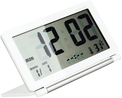 Desk LCD Digital Travel Alarm Clock W// Thermometer Date Calendar Timer Foldable