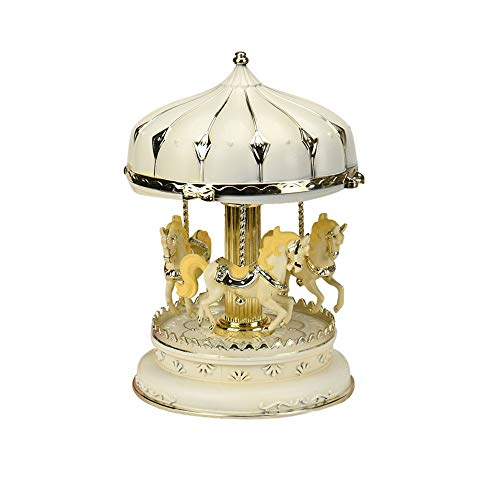 ESH7 Lovely Music Box Light Carousel Music Boxes for Children Creative Craft Gifts Girl Birthday Gift Holiday Present Home Decoration,Color - Snow Carousel