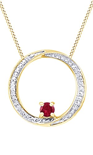 Jewel Zone US Simulated Ruby & Natural Diamond Swirl Circle Pendant 14K Gold Over Sterling ()