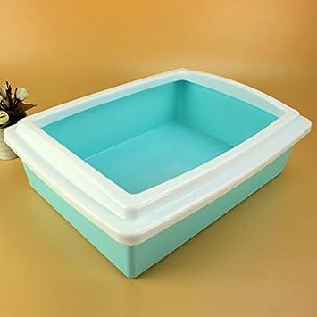 YOMMY® Bandeja Sanitaria Abierta para Gatos con una Pala para Arena tamaño S/M/L 38.5 * 29 * 12 cm YM-1302A (S, Azul): Amazon.es: Hogar
