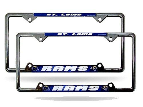 St Louis Rams NFL EZ View Chrome Metal (2) License Plate Frame Set by Rico