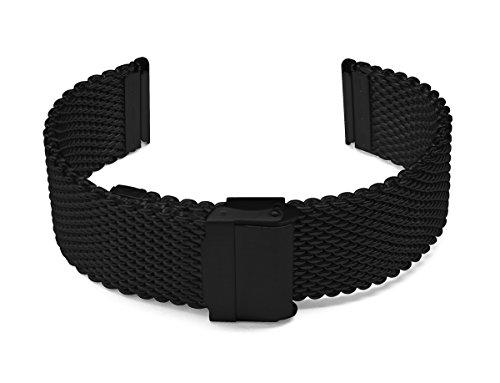 22mm TIMEWHEEL Semi-Heavy Stainless Steel Wire Mesh Black PVD Bracelet Watch Band Strap for Sporty Watch