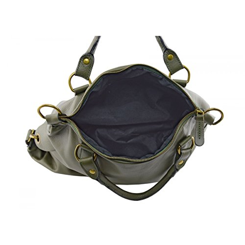 Borsa Donna A Mano In Vera Pelle Con Tracolla Rimovibile Colore Verde Scuro - Pelletteria Toscana Made In Italy - Borsa Donna
