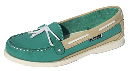 Seafarer Womens 7200L Leather Casual Summer Deck Shoes Green u9zkAta5l